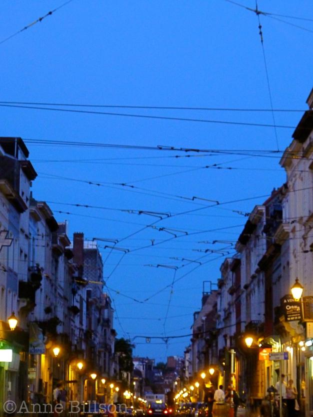 Blauwe Nacht met tramlijnen: Waterleidingsstraat,