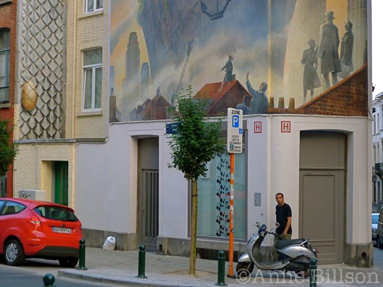 Maesstraat muurschildering: Maesstraat, Elsene.