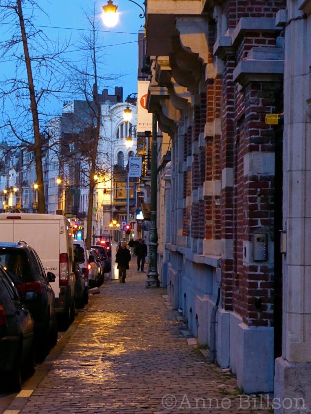 Brugmannlaan in de schemering: Brugmannlaan, Sint-Gillis.
