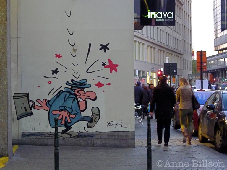 Een slachtoffer van Gaston Lagaffe: Schildknaapstraat, Brussel.