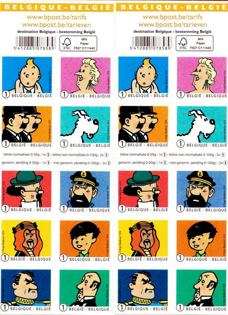 Mijn nieuwe set van Kuifje postzegels.