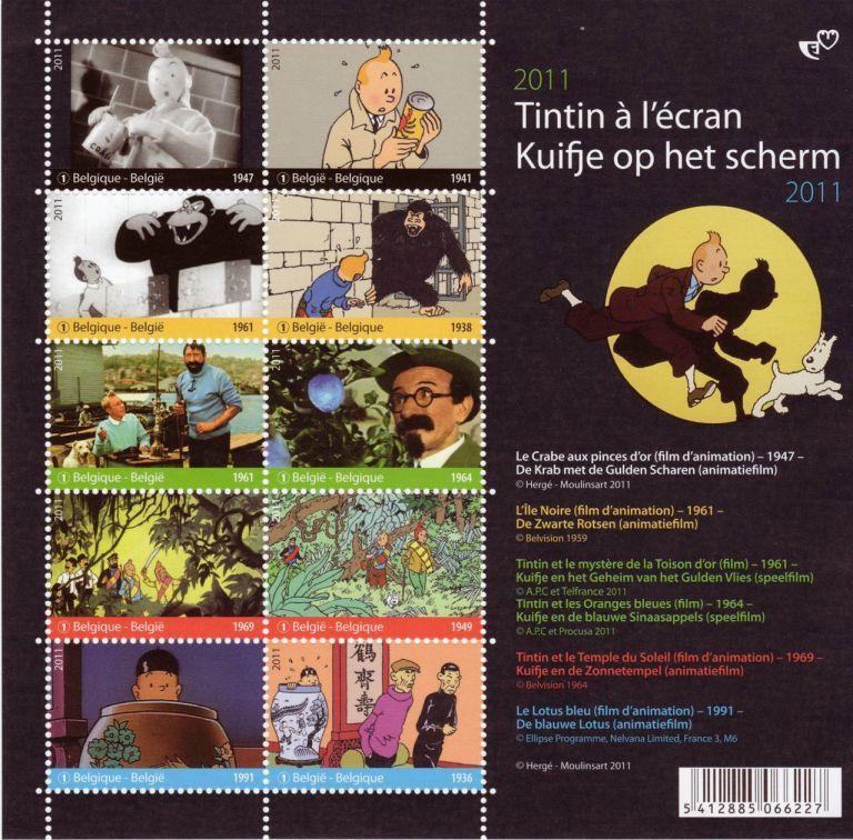 En mijn oude set van Kuifje postzegels, uit 2011.