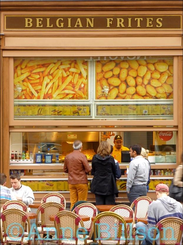 Belgian frites bis: Grasmarkt, Brussel.