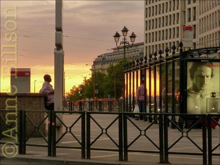 Zonsondergang over Louizaplein: Brussel.