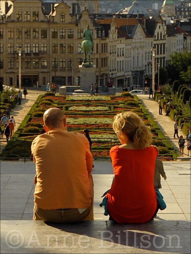 Oranje en rood op Kunstberg: Kunstberg, Brussel.