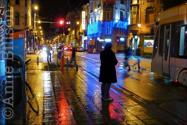 Nacht reflecties: Charleroise Steenweg, Sint-Gillis.