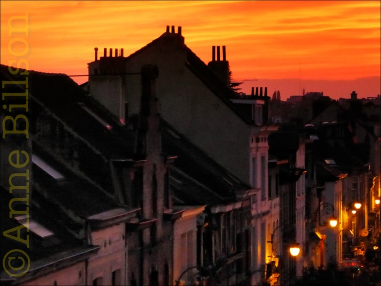 Daken en zonsondergang: Ducpétiauxlaan, Sint-Gillis.