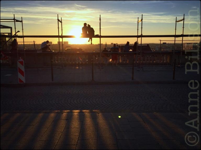 Zonsondergang steigers: Poelaertplein, Brussel.