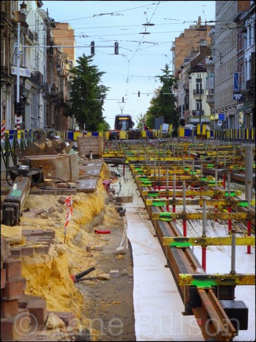 Nieuwe tramsporen: Brugmannlaan, Ukkel.
