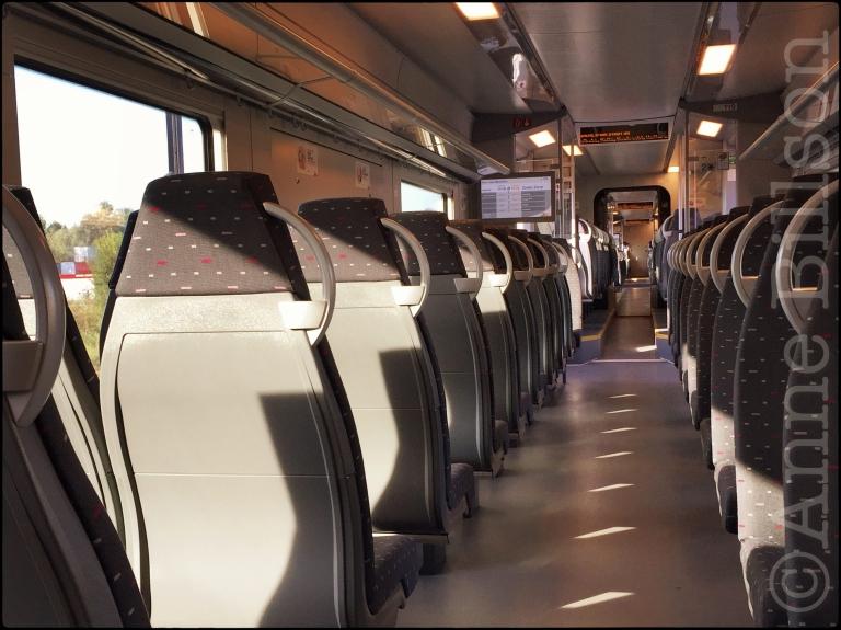 In een trein: Zeebrugge.