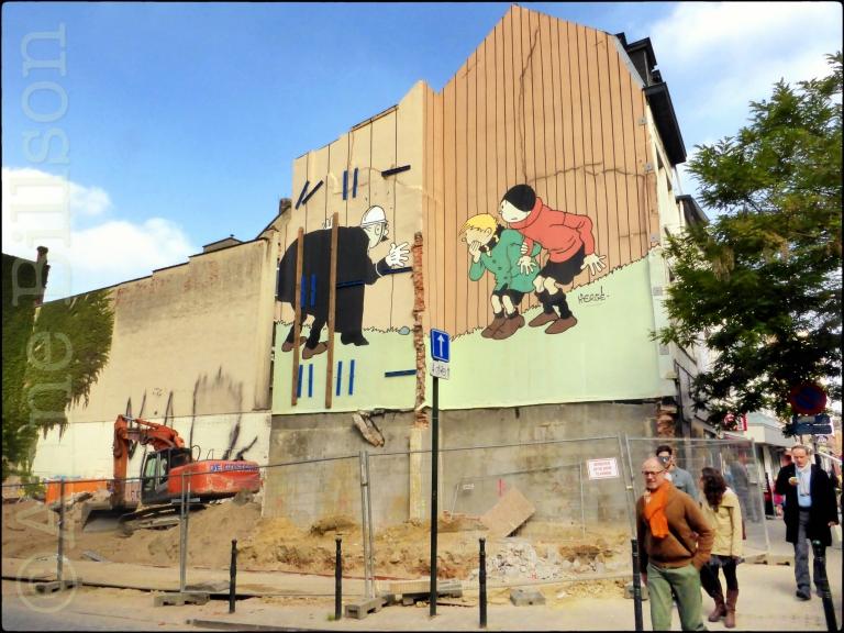 Hergé op Hoogstraat bis: Hoogstraat, Brussel.