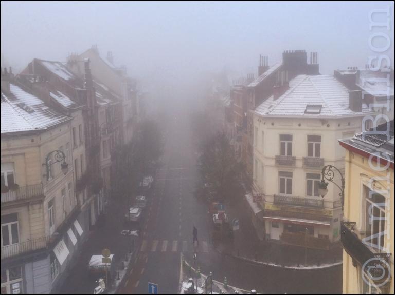 Mistige dag: Ducpétiauxlaan, Sint-Gillis.